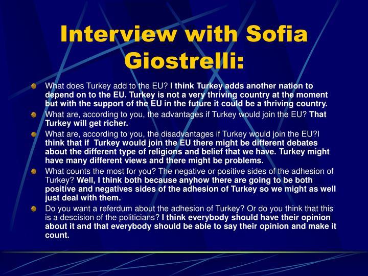 Interview with Sofia Giostrelli: