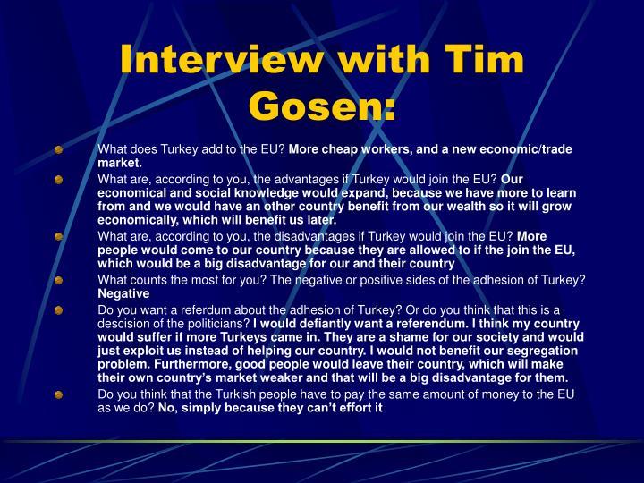 Interview with Tim Gosen: