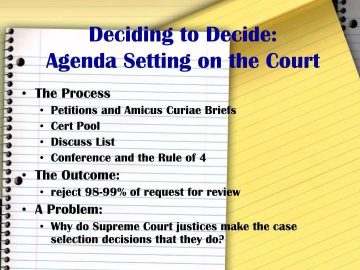 Deciding to Decide: