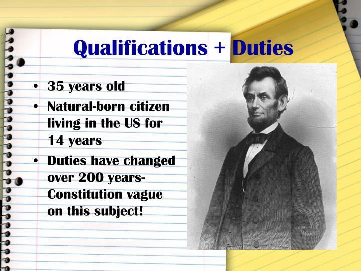 Qualifications + Duties