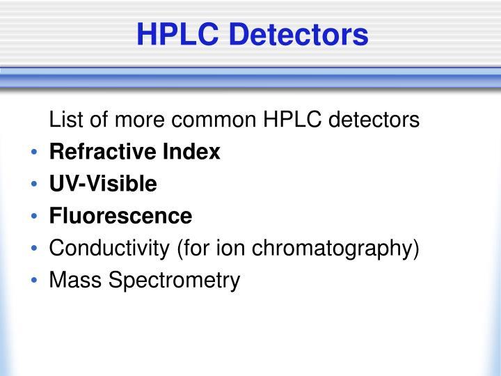 Hplc detectors1