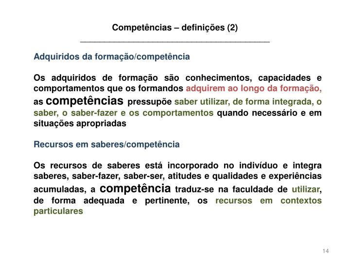 Competências – definições (2)