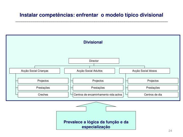 Instalar competências: enfrentar  o modelo típico divisional