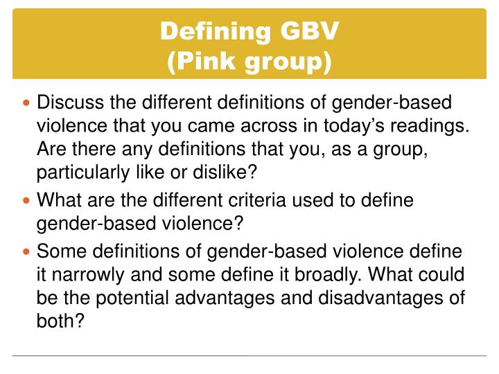 Defining GBV