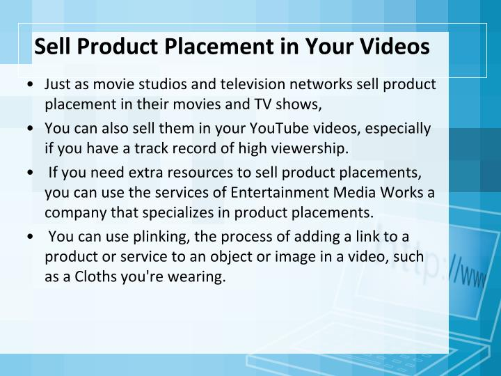 Sell Product Placement in Your Videos