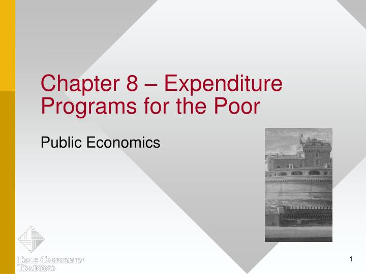 chapter 8 expenditure programs for the poor