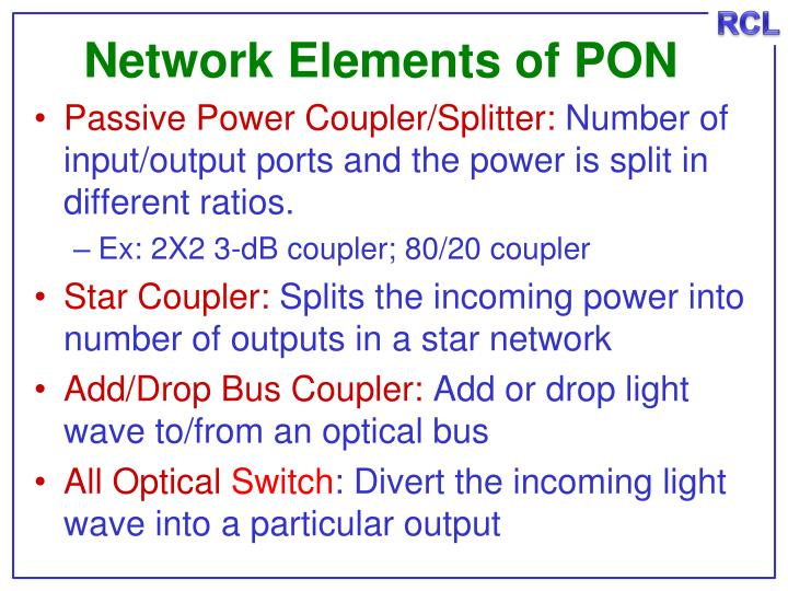 Network Elements of PON