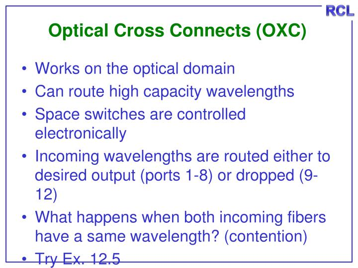 Optical Cross Connects (OXC)