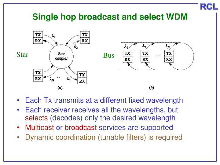 Single hop broadcast and select WDM