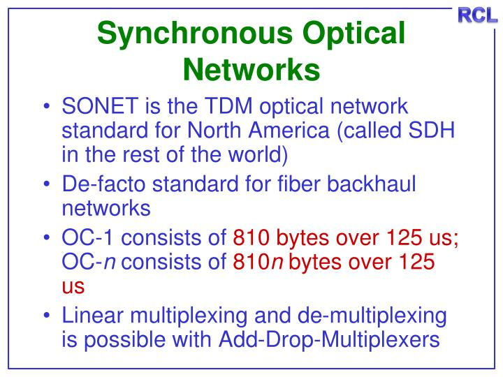 Synchronous Optical Networks