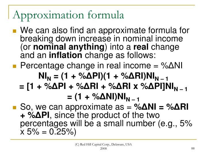 Approximation formula