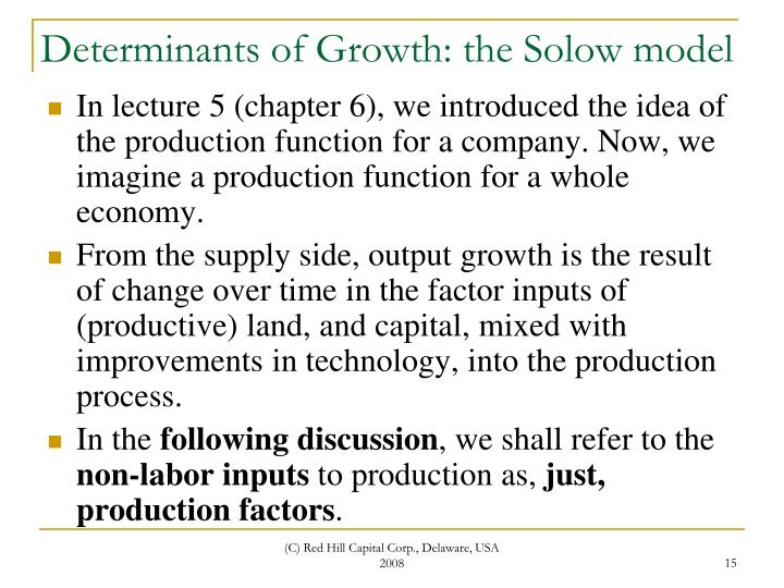 Determinants of Growth: the Solow model