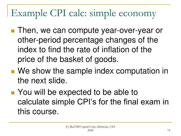 Example CPI calc: simple economy