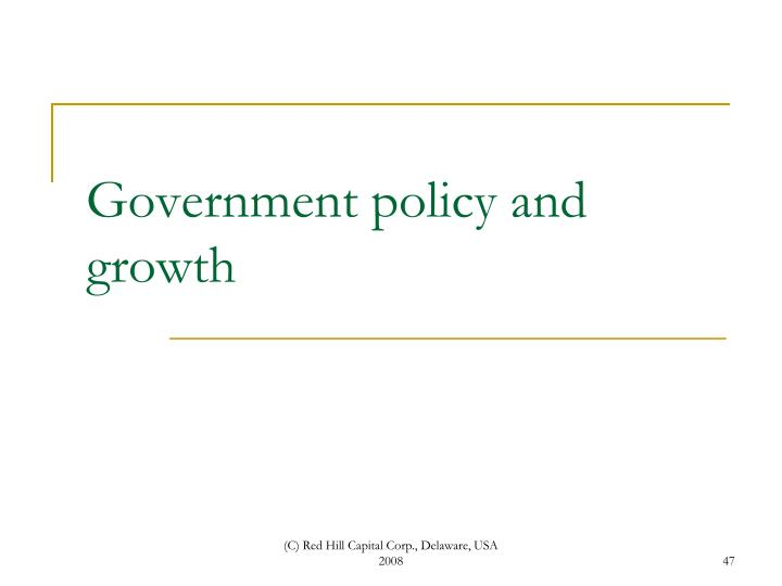 Government policy and growth