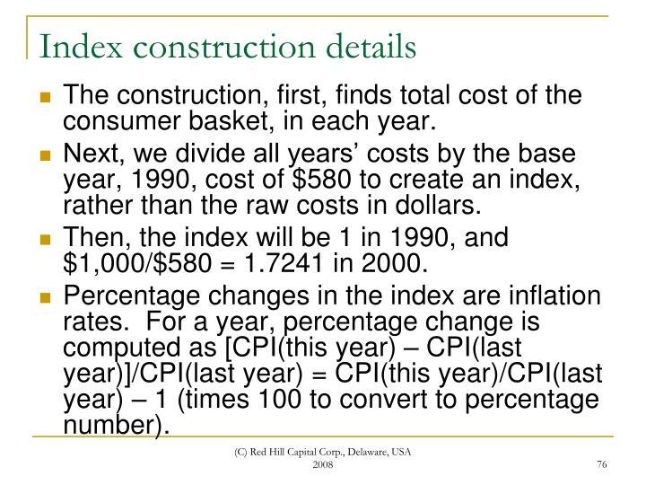Index construction details