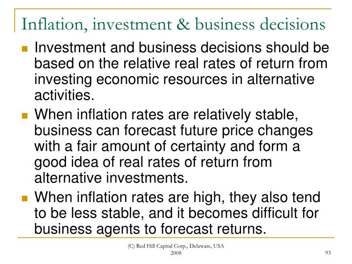Inflation, investment & business decisions