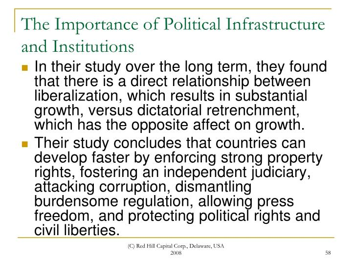 The Importance of Political Infrastructure and Institutions