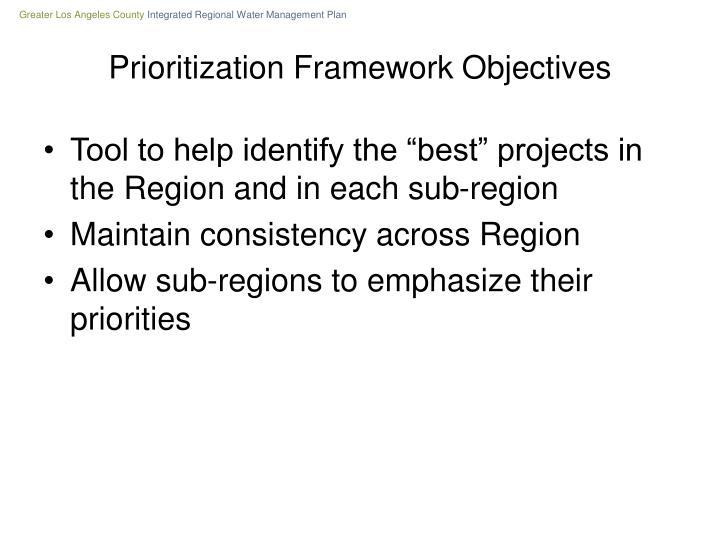 Prioritization framework objectives