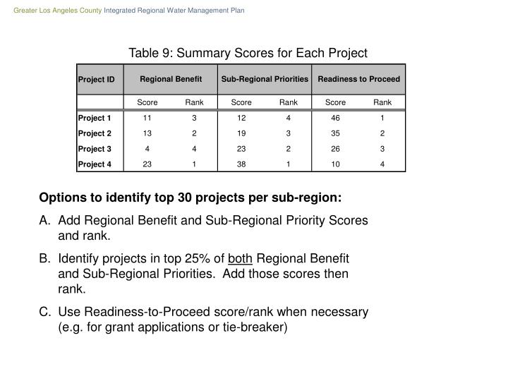Table 9: Summary Scores for Each Project