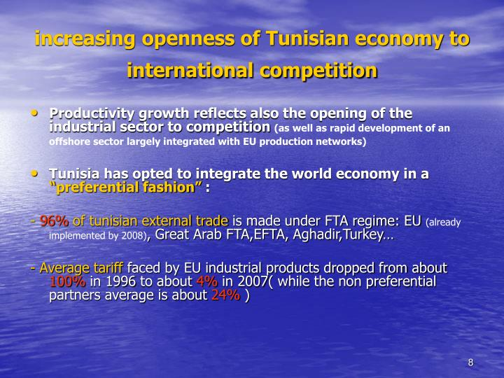increasing openness of Tunisian economy to international competition