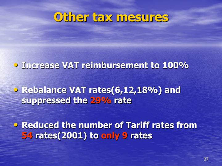 Other tax mesures