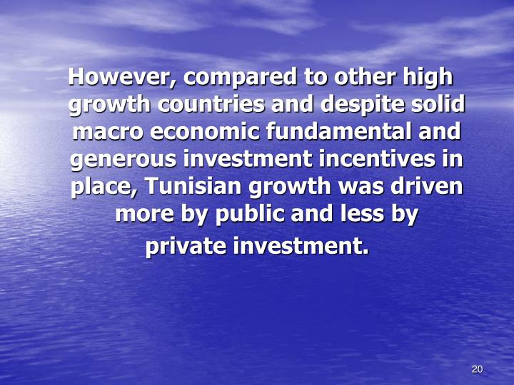 However, compared to other high growth countries and despite solid macro economic fundamental and generous investment incentives in place,