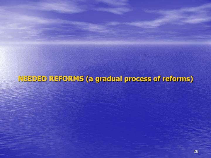 NEEDED REFORMS (a gradual process of reforms)