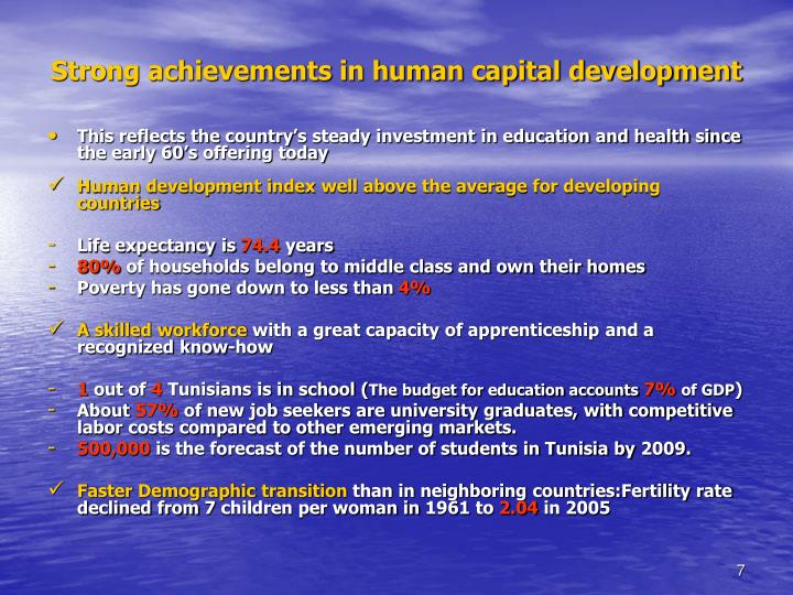 Strong achievements in human capital development