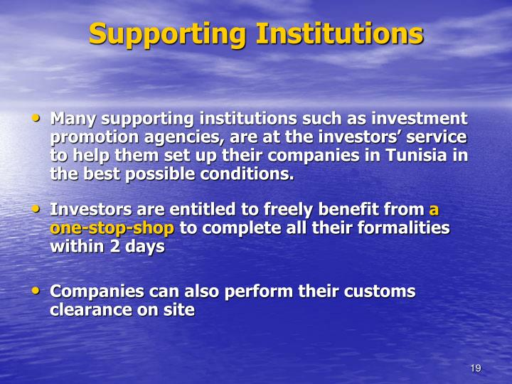 Supporting Institutions