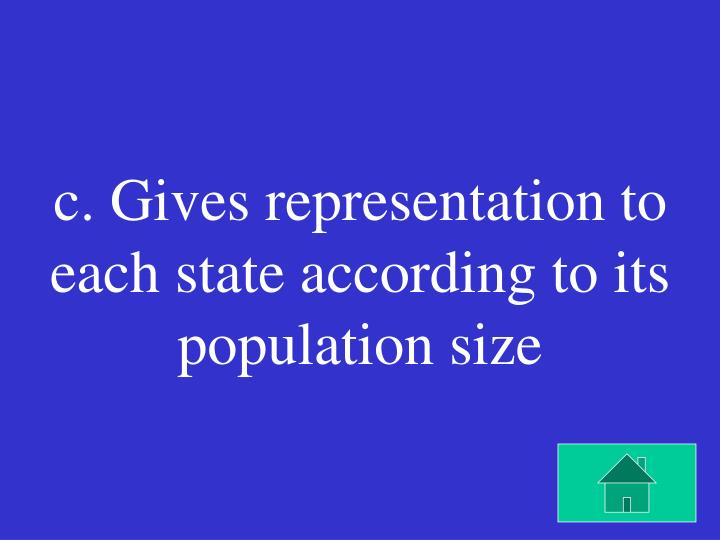 c. Gives representation to each state according to its population size