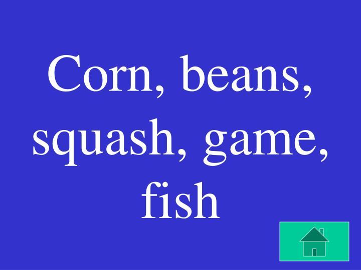 Corn, beans, squash, game, fish
