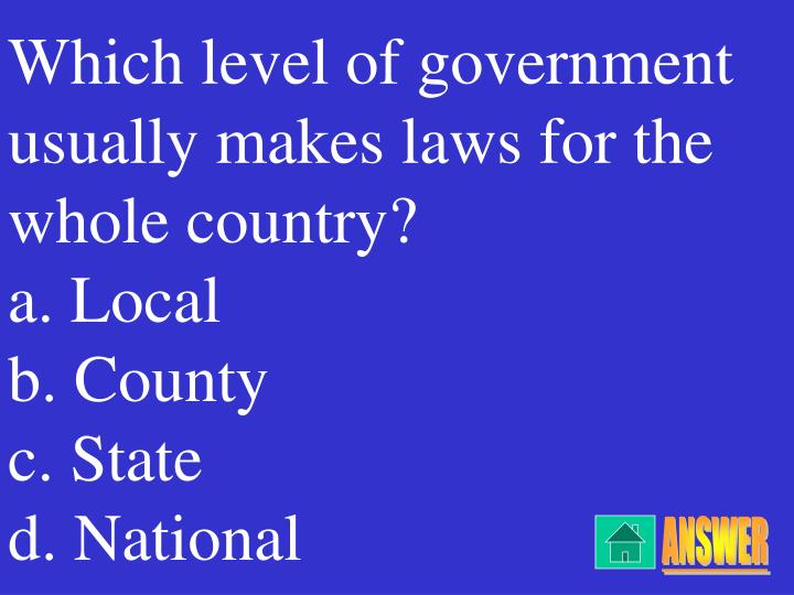 Which level of government usually makes laws for the whole country?