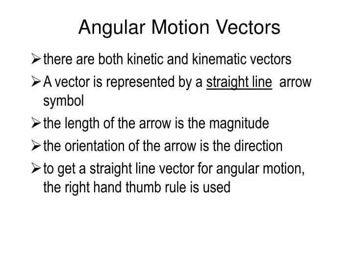 Angular Motion Vectors