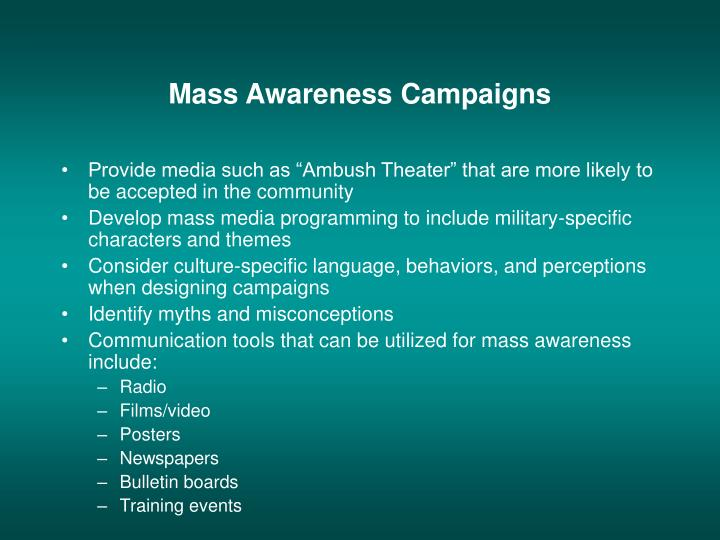 "Provide media such as ""Ambush Theater"" that are more likely to be accepted in the community"