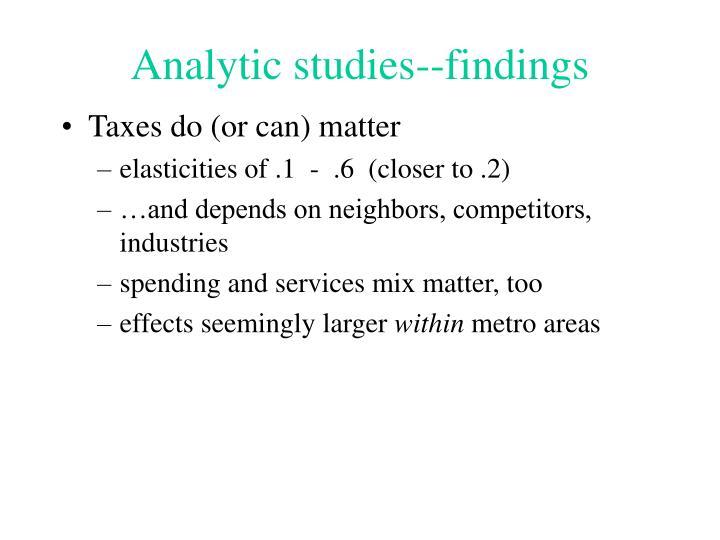 Analytic studies--findings