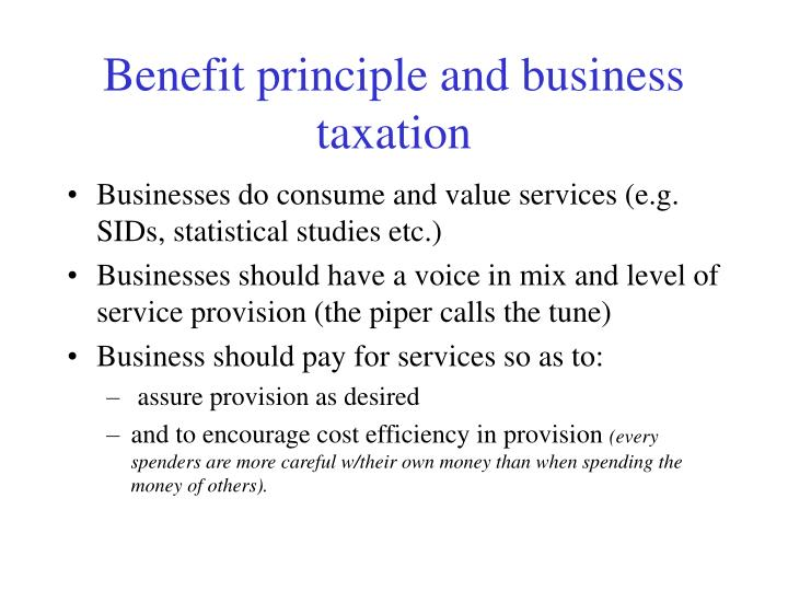 Benefit principle and business taxation