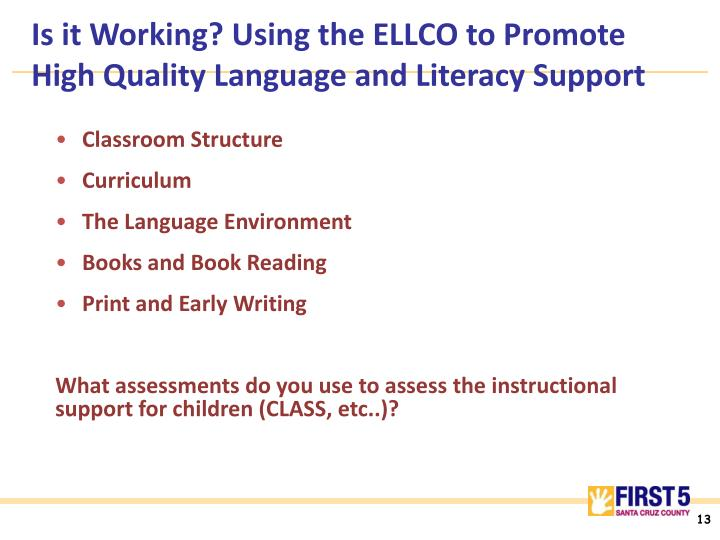 Is it Working? Using the ELLCO to Promote High Quality Language and Literacy Support