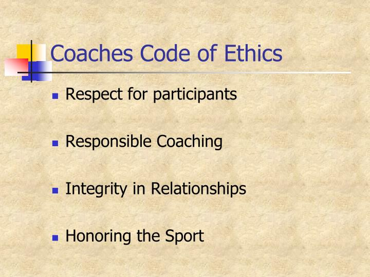 Coaches Code of Ethics