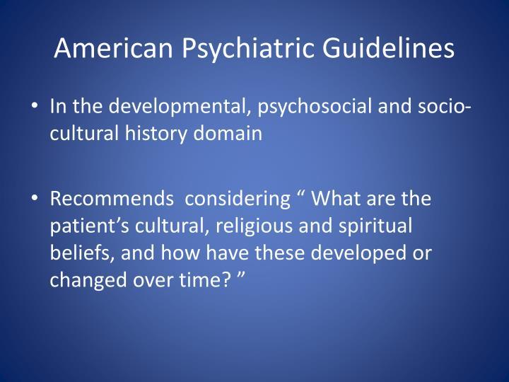 American Psychiatric Guidelines