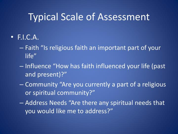 Typical Scale of Assessment