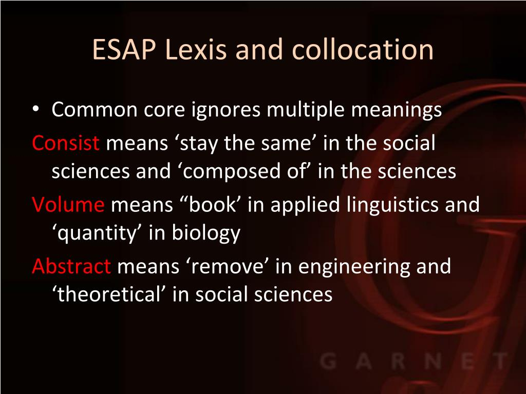 ESAP Lexis and collocation