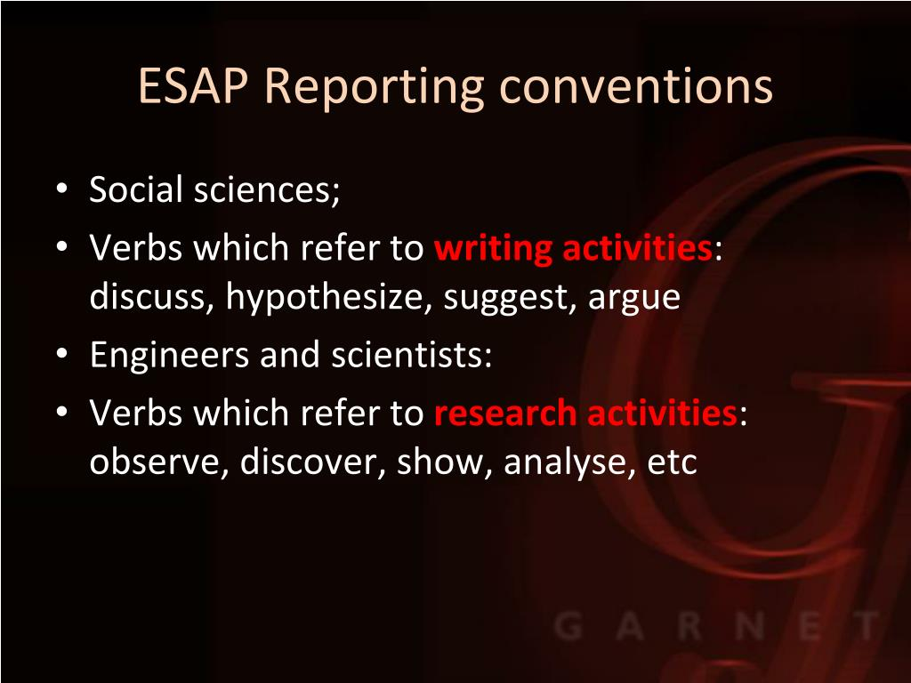 ESAP Reporting conventions
