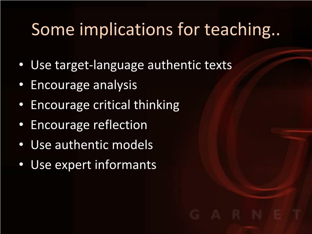 Some implications for teaching..