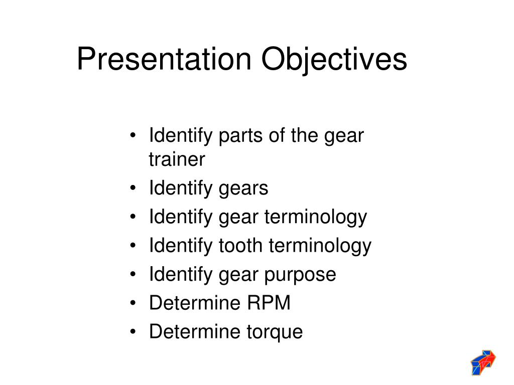 Identify parts of the gear trainer
