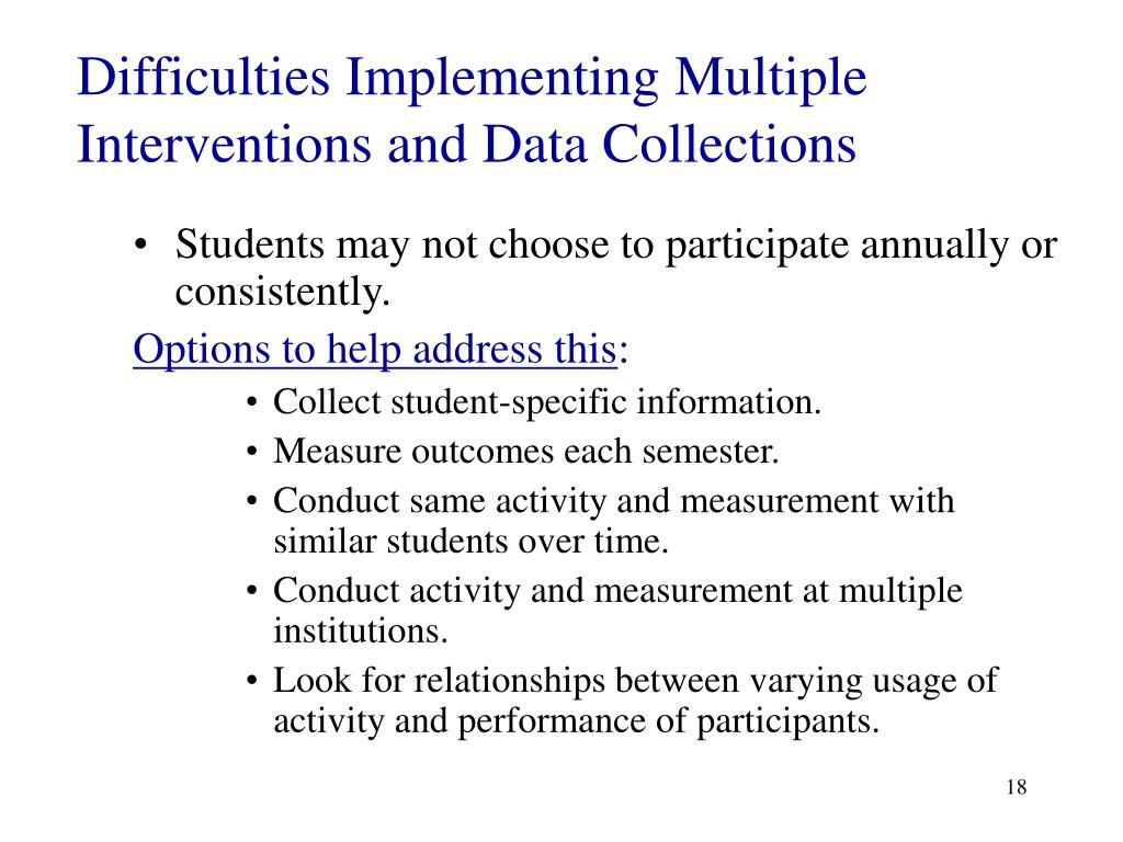 Difficulties Implementing Multiple Interventions and Data Collections