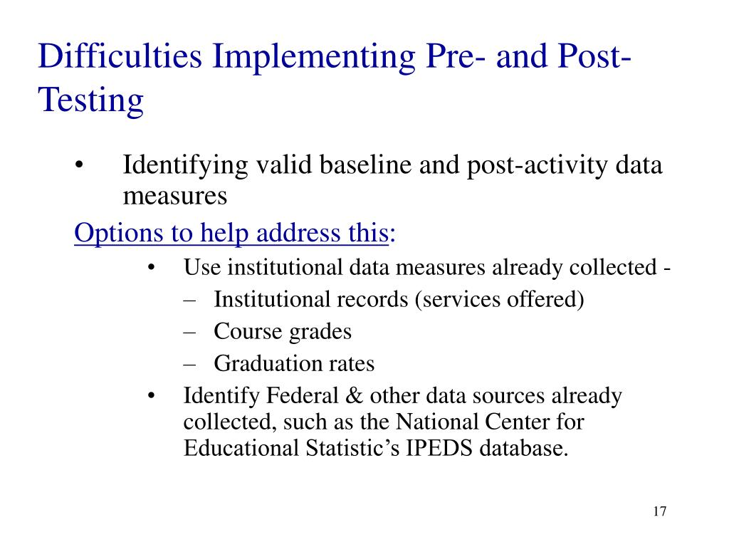 Difficulties Implementing Pre- and Post-Testing