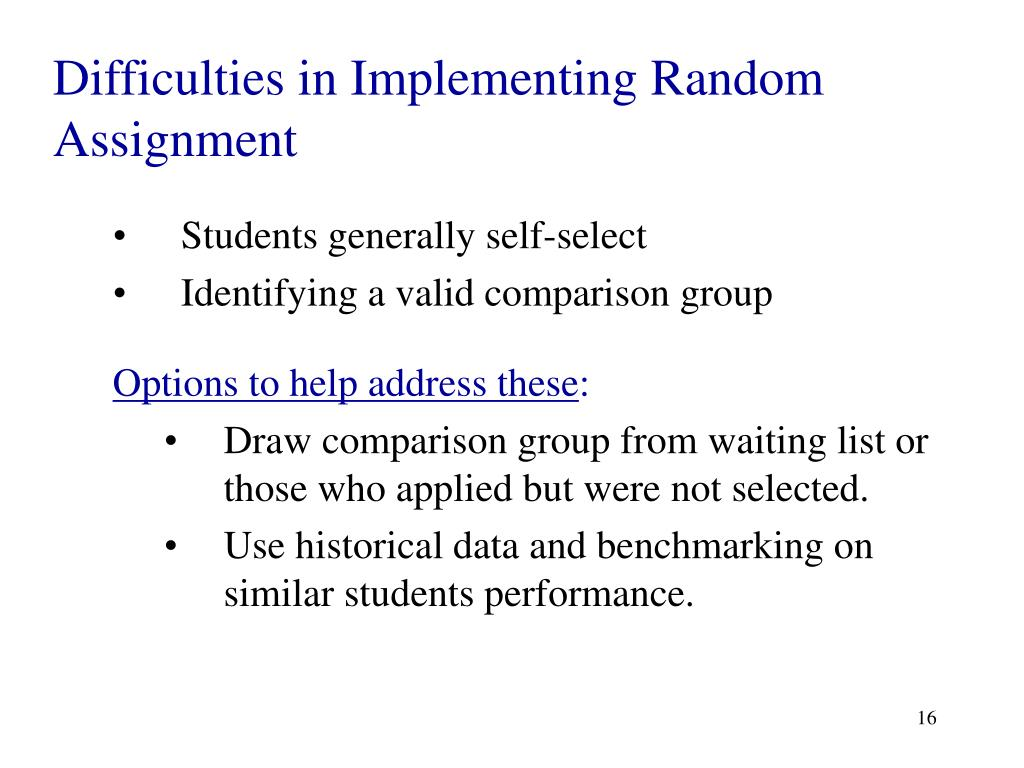 Difficulties in Implementing Random Assignment