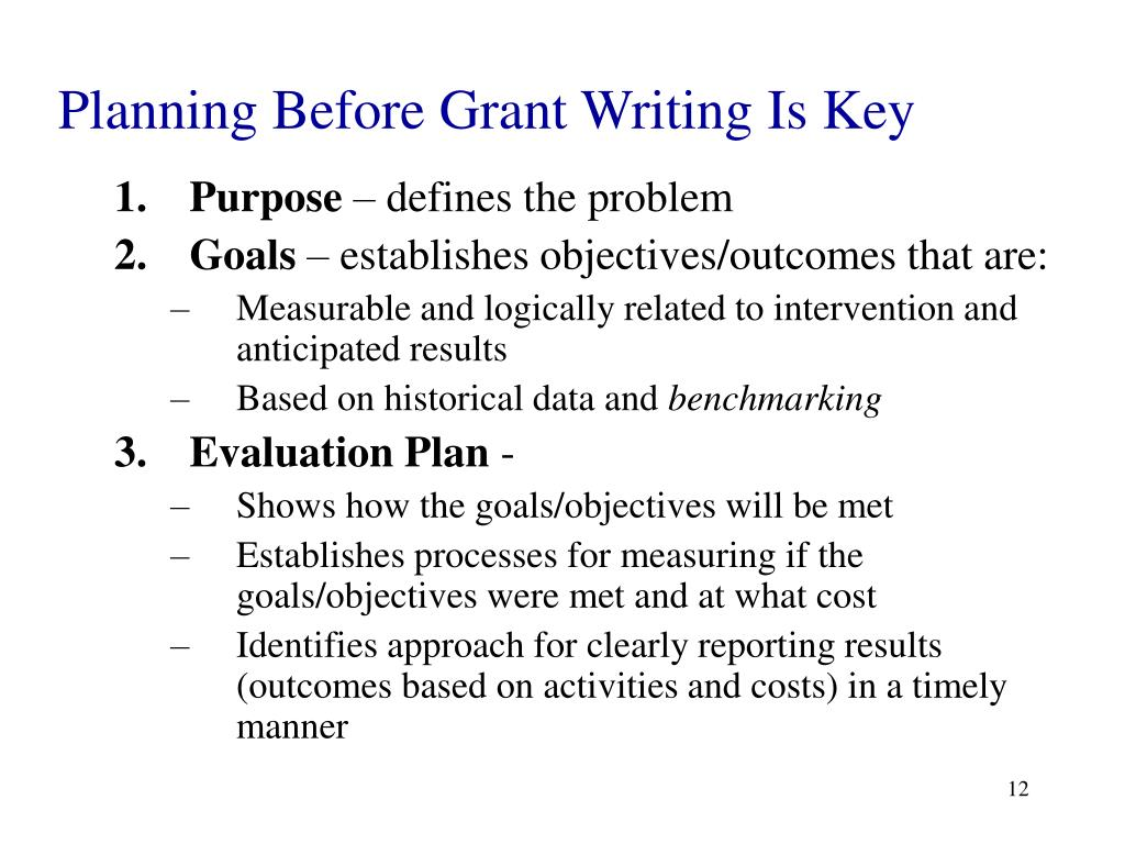 Planning Before Grant Writing Is Key