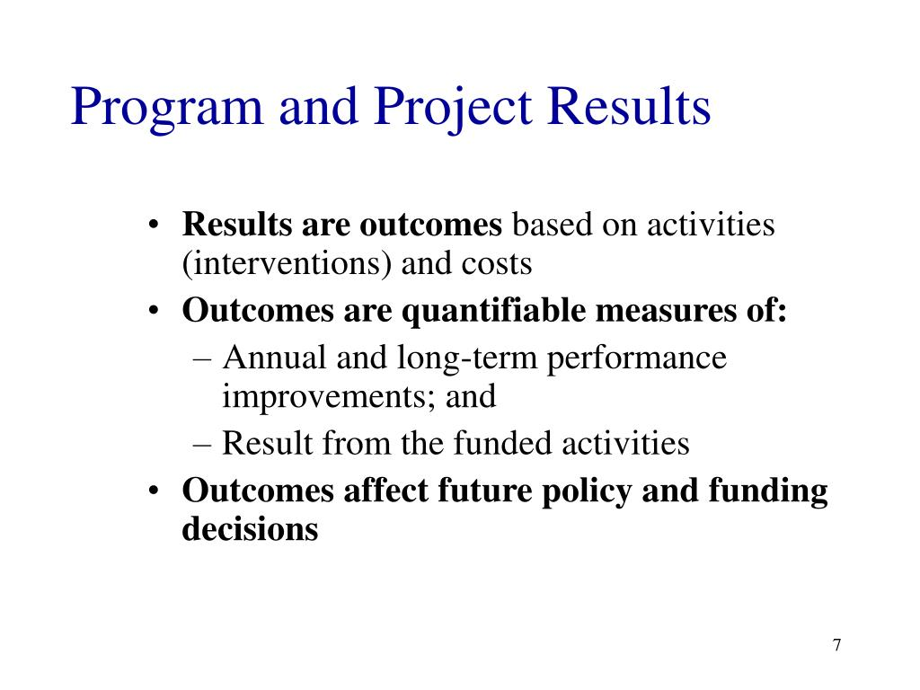Program and Project Results