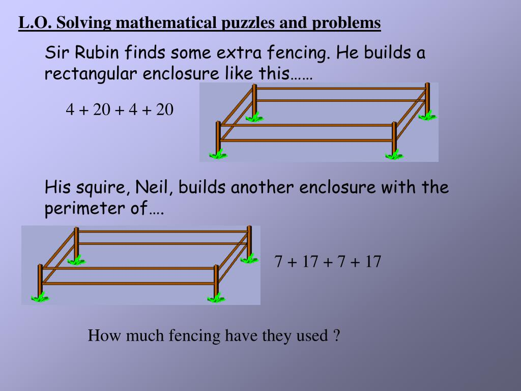 L.O. Solving mathematical puzzles and problems